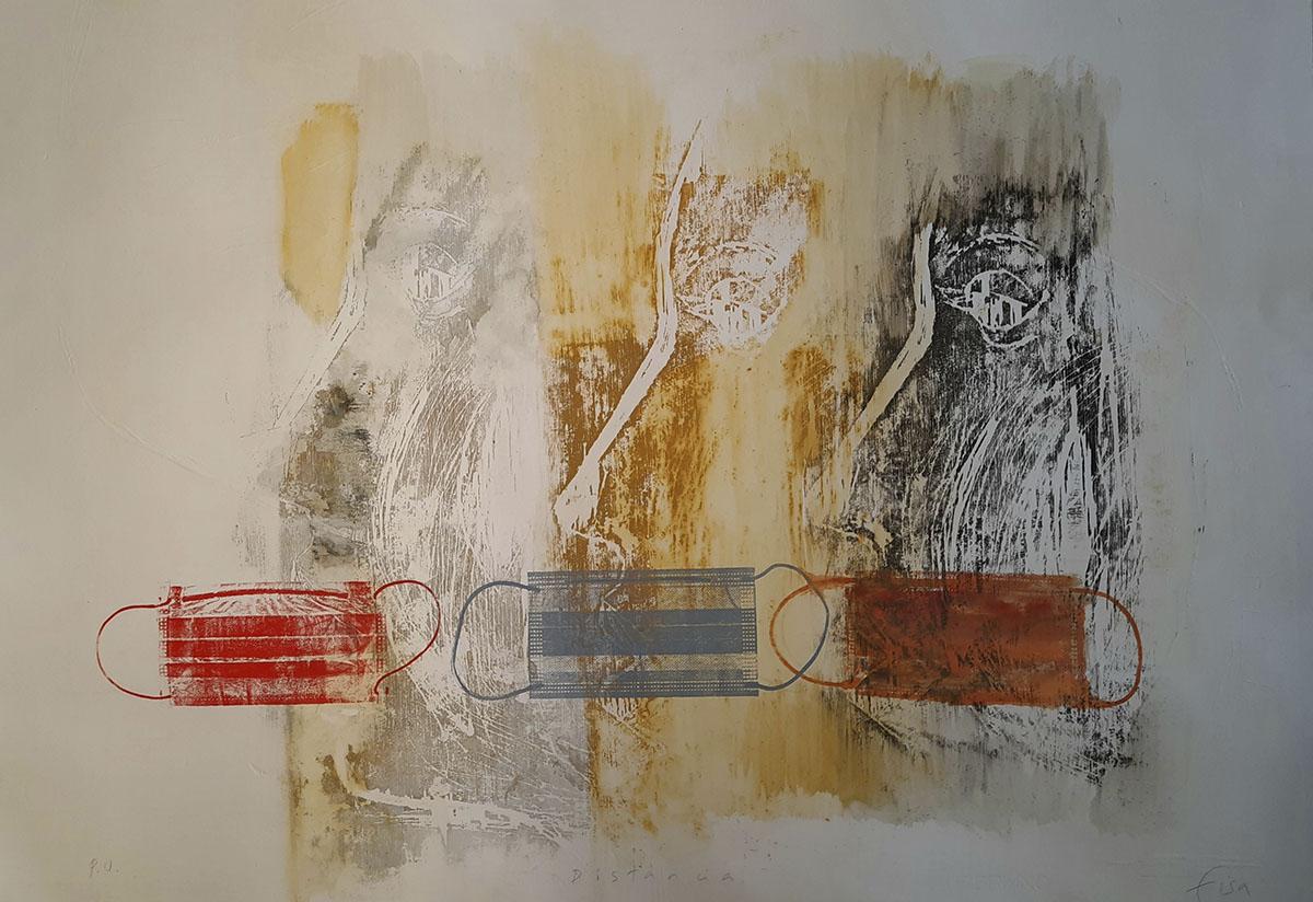 Lourdes Fisa. Distància, 2020, tècnica mixta, gravat i aquarela, 70 × 100 cm